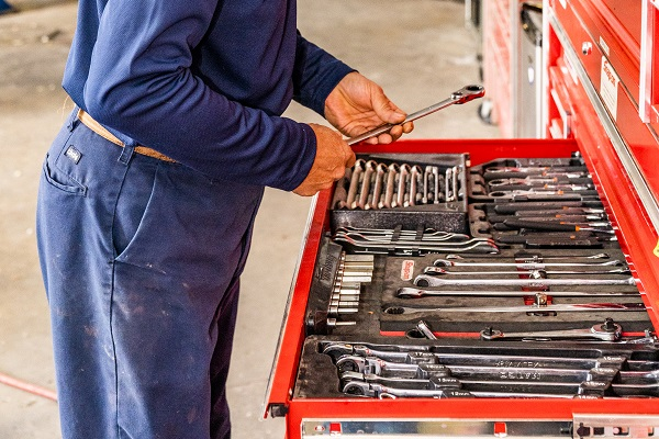 Wrenches in an auto body shop